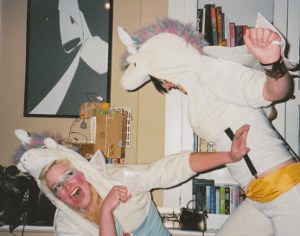 Lara and I dressed as the last and the second-to-last unicorns for Halloween.