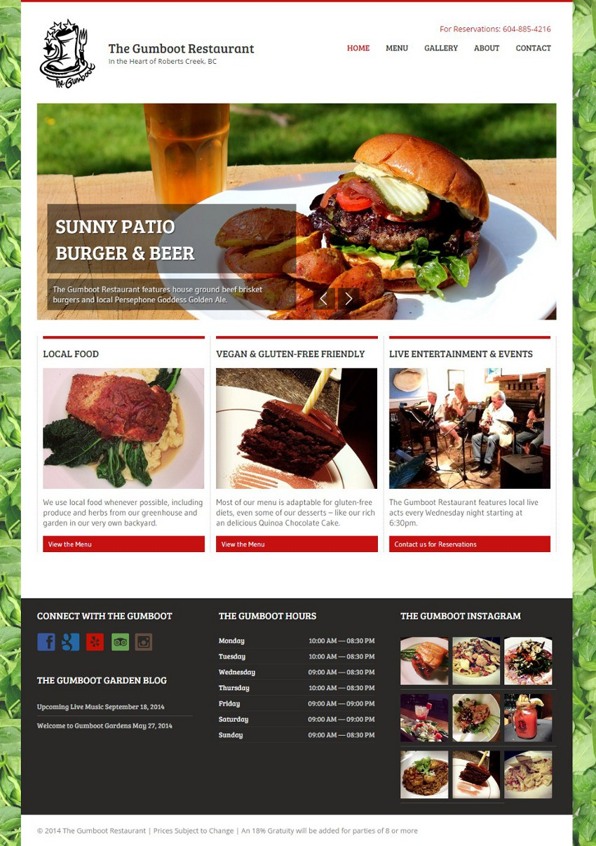 Gumboot Restaurant Website
